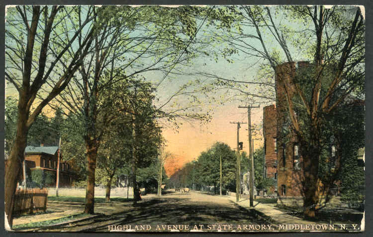Highland Avenue in Middletown, NY 1912 Postcard front